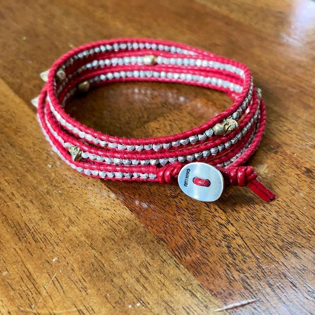 Chan Luu leather sterling silver bead and skull wrap bracelet.